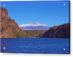Four Peaks In Winter Acrylic Print by David Rizzo