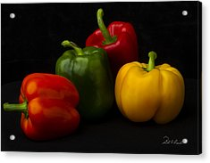 Four Peppers Acrylic Print by Frederic A Reinecke