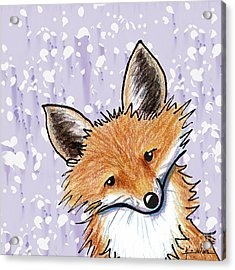 Fox On Lavender Acrylic Print by Kim Niles