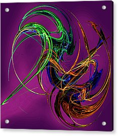 Fractal Tatoo-purple Acrylic Print by Michael Durst