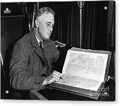 Franklin D. Roosevelt, 32nd American Acrylic Print by Photo Researchers