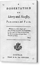 Franklin: Title Page, 1725 Acrylic Print by Granger