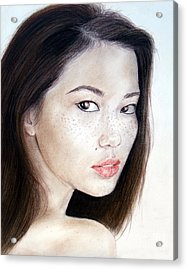 Freckle Faced Asian Model Acrylic Print by Jim Fitzpatrick