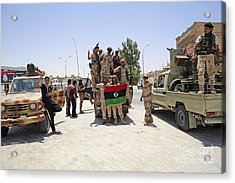 Free Libyan Army Troops Pose Acrylic Print by Andrew Chittock