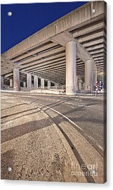Freeway Overpass Support Structure At Night Acrylic Print by Eddy Joaquim
