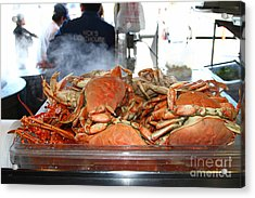 Freshly Cooked Steaming Hot Dungeness Crabs At Fishermans Wharf . San Francisco California . 7d14461 Acrylic Print by Wingsdomain Art and Photography