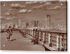 Friends Sepia Acrylic Print by Lee Dos Santos