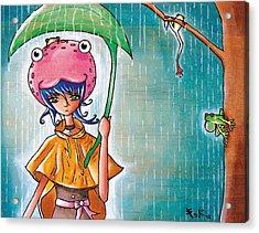 Frog Girl Acrylic Print by Jen Kiddo