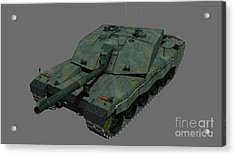 Front View Of A British Challenger II Acrylic Print by Rhys Taylor