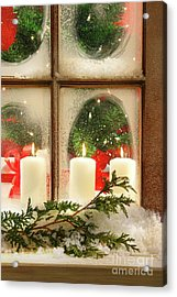 Frosted Window Acrylic Print by Sandra Cunningham