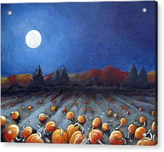 Frosty Harvest Moon Acrylic Print by Sharon Marcella Marston