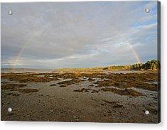 Full Rainbow Arc Over Acadia Np Acrylic Print by Juergen Roth