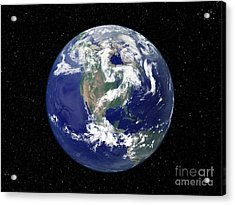 Fully Lit Earth Centered On North Acrylic Print by Stocktrek Images