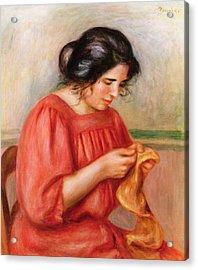 Gabrielle Darning Acrylic Print by Pierre Auguste Renoir