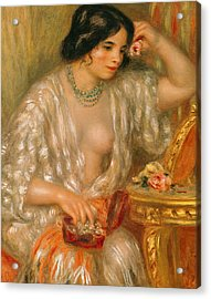 Gabrielle With Jewellery Acrylic Print by Pierre Auguste Renoir