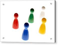 Game Pieces In Various Colours Acrylic Print by Bernard Jaubert