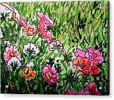 Garden Flowers Sketchbook Project Down My Street Acrylic Print by Irina Sztukowski