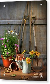 Garden Shed With Tools And Pots  Acrylic Print by Sandra Cunningham