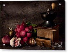 Garlic And Radishes Acrylic Print by Ann Garrett