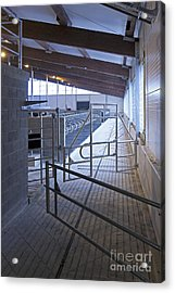 Gated Railing In A Cowshed Acrylic Print by Jaak Nilson