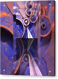 Gear Composition Acrylic Print by Ron Schwager