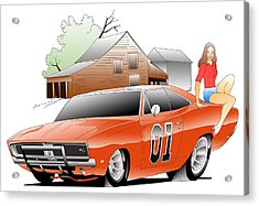 General Lee Digital Acrylic Print by Lyle Brown