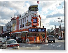 Geno's Steaks - South Philadelphia Acrylic Print by Bill Cannon