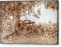 Gettysburg Battlefield Cannon Seminary Ridge Sepia Acrylic Print by Randy Steele