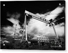 Giant Harland And Wolff Cranes Goliath Amd Samson With Wind Turbine Blades At Shipyard Titanic Acrylic Print by Joe Fox