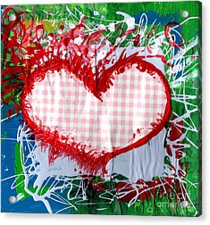 Gingham Crazy Heart Acrylic Print by Genevieve Esson