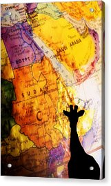 Giraffe Silhouette With Map Background Acrylic Print by Chris Knorr