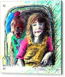 Girl And Dog Oil Pastel Portrait Acrylic Print by Rom Galicia