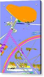 Girl Bicycle Pop Art Acrylic Print by ArtyZen Studios