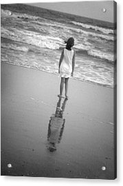 Girl By Ocean Acrylic Print by Kelly Hazel
