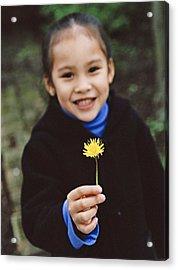Girl Holding A Flower Acrylic Print by Ian Boddy