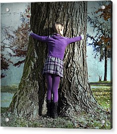 Girl Hugging Tree Trunk Acrylic Print by Joana Kruse