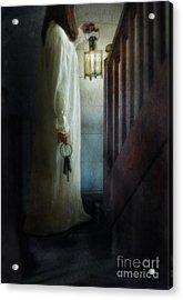Girl On Stairs With Lantern And Keys Acrylic Print by Jill Battaglia