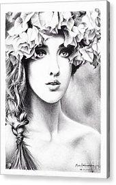 Girl With A Floral Crown Acrylic Print by Muna Abdurrahman