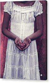 Girl With A Heart Acrylic Print by Joana Kruse