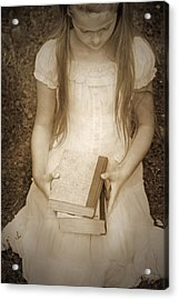 Girl With Books Acrylic Print by Joana Kruse