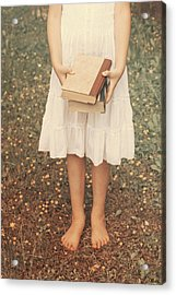 Girl With Old Books Acrylic Print by Joana Kruse
