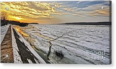 Glaciation Of The Danube. Acrylic Print by Evmeniya Stankova