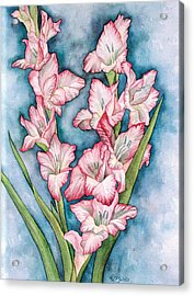 Gladiola Painting Acrylic Print by Linda Wells