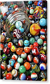 Glass Jar And Marbles Acrylic Print by Garry Gay