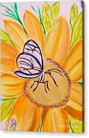 Glass Winged Butterfly Acrylic Print by Marie Bulger