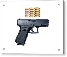 Glock Model 19 Handgun With 9mm Acrylic Print by Terry Moore
