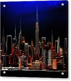 Glowing New York Acrylic Print by Steve K