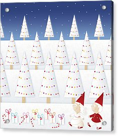 Gnomes - December Acrylic Print by ©cupofsnowflakes