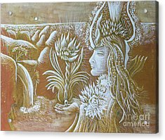Goddess With Lotus Acrylic Print by Evelyn Cammarano