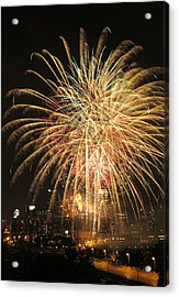 Golden Fireworks Over Minneapolis Acrylic Print by Heidi Hermes